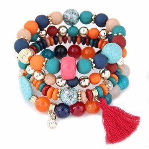Jewelry - Fashion Resin Beads Elastic  Charm Bracelet